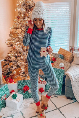 Crew Neck Striped Pajama Set with Contrast Trim