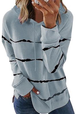 Sudadera gris con cordones y rayas con efecto tie-dye y abertura lateral