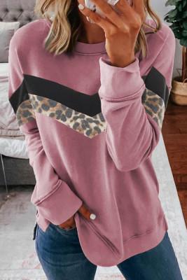 Pinkes Leopardenmuster-Farbblock-Sweatshirt mit Rundhalsausschnitt