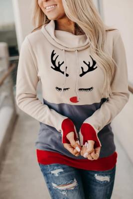 Weihnachtsdruck Hoodie mit Daumenloch