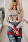 Roter Hoodie mit Weihnachtsbaummuster und Daumenloch