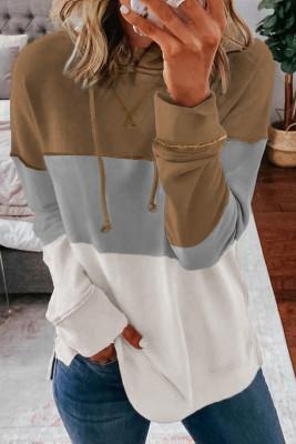 Sweats à capuche décontractés kaki avec cordon de serrage et rayures