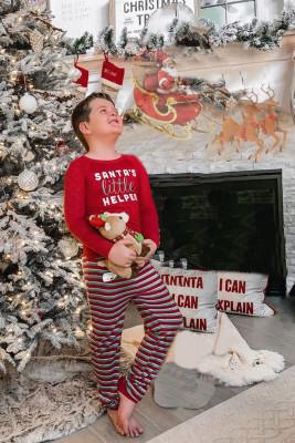 طقم ملابس نوم للأطفال من سانتا الصغير لطباعة العطلات