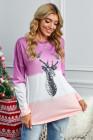Lila Rentierdruck Farbverlauf Farbblock Sweatshirt