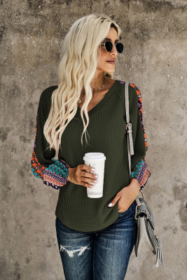 Green Contrast Eyelet Thermal Knit Top