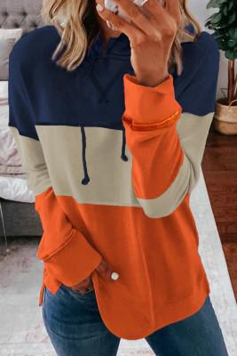 Оранжевые повседневные худи в полоску с цветными блоками и кулиской