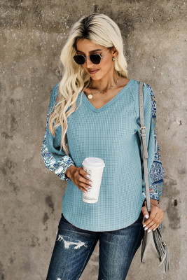 Sky Blue Contrast Eyelet Thermal Knit Top