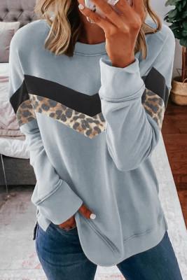 Graues Leopardenmuster-Farbblock-Sweatshirt mit Rundhalsausschnitt
