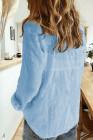 أزرق سماوي - قميص أساسي بلون سادة