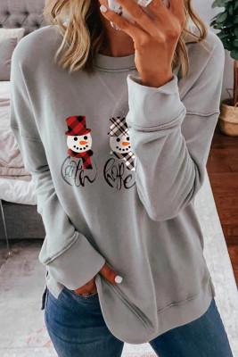 Graues fallengelassenes Ärmel-Schneemann-Druck-Weihnachts-Sweatshirt