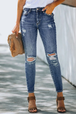 Рваные джинсы скинни с высокой посадкой