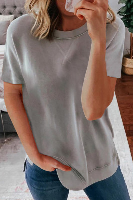 Gray Round Neck Short Sleeve Solid Color Tee