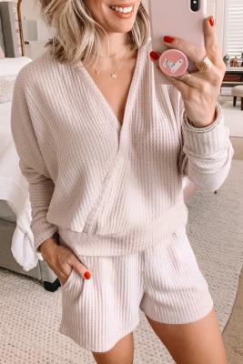 Rosa Waffel Textur V-Ausschnitt Langarm Hoodie & Shorts Zweiteilige Loungewear