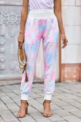 Multicolor Tie-dye Pocket Casual Pants With Slit
