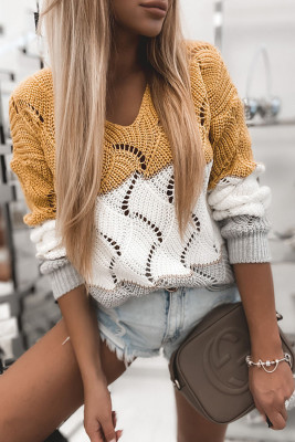 Yellow Color Block Knitted Cut Out Pullover Sweater