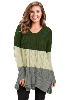 Green Colorblock Cable Knit Sweater with Slits