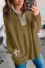 Khaki High Neck 1/4 Zip Pocketed Cosy Sweater