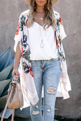 White Waterfall Short Sleeve Floral Print Cardigan