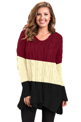 Black Colorblock Cable Knit Sweater with Slits