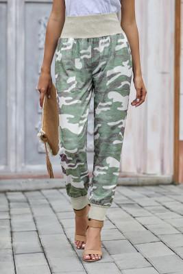 Hellgrüne Camouflage Pocket Casual Pants mit Schlitz