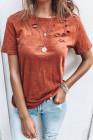 Camiseta de mezcla de algodón con cuello redondo y agujeros naranja