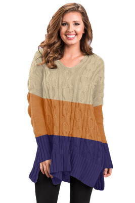 Brown Colorblock Cable Knit Sweater with Slits