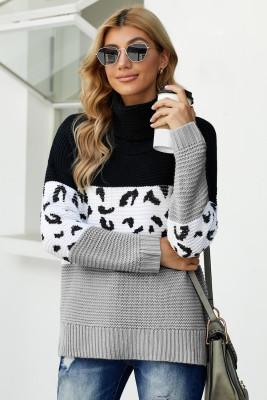 Pull à col roulé noir Splicing Chunky Knit Pullover