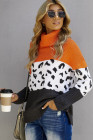 Orange Rollkragenpullover mit grobem Strick