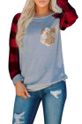 Classic Plaid Splicing Sequined Pocket Long Sleeve Top