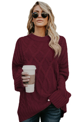Wine Oversize Thick Pullover Sweater