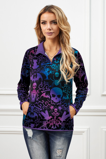 Purple Quarter Zip Halloween inspiriertes Print-Sweatshirt mit Taschen