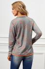 Graues Viertel-Reißverschluss-Kürbis-Druck-Sweatshirt mit Taschen