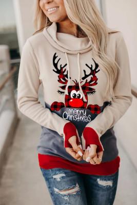Sudadera navideña con estampado de alces beige y orificio para el pulgar
