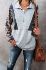 Graues Leoparden-Pullover-Sweatshirt mit halbem Reißverschluss
