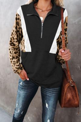 Schwarzes Leoparden-Pullover-Sweatshirt mit halbem Reißverschluss