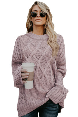 Pink Oversize Thick Pullover Sweater