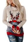 Beige Elch Print Weihnachts Hoodie mit Daumenloch