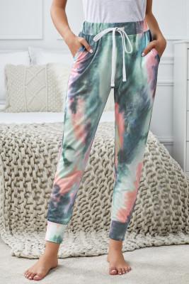 Pantalones con cordón en bloque de color con efecto tie-dye azul oscuro