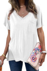 Camiseta blanca de mezcla de algodón de manga corta con cuello en V con bolsillo delantero y aberturas laterales