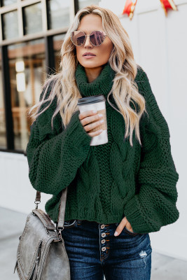 Green Cuddle Weather Cable Knit Handmade Turtleneck Sweater