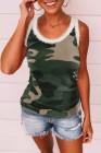 Débardeur skinny vert sans manches à imprimé camouflage et encolure dégagée