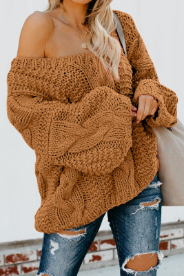 Brown Bubblegum V-Neck Braided Knit Sweater