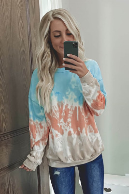 Sky Blue Color Block Tie-dye Crew Neck Sweatshirt