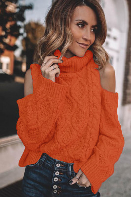Orange Turtleneck Cold Shoulder Strukturierter Pullover