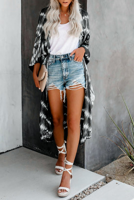 Black Bat Sleeve Fashion Tie-dye Print Cardigan