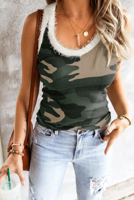 Green Scoop Neck Sleeveless Camo Print Skinny Tank Top
