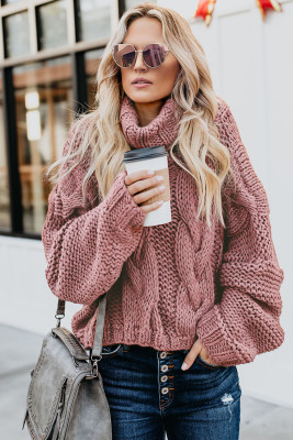 Pink Cuddle Weather Cable Knit Handmade Turtleneck Sweater