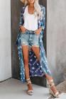 Himmelblaue Fledermausärmel-Mode-Strickjacke mit Batikdruck