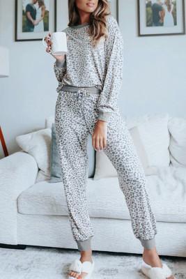 Conjunto de ropa interior de leopardo gris de manga larga y joggers con cordón