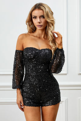Black Sequins Off-The-Shoulder Long-Sleeve Padded Mini Romper